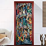 Murales Para Puertas 3D Para Puertas Papel Pintado Puerta Autoadhesiva Extraíble Impermeable Sala De Estar Cartel De La Pared Mural Puerta Fondo Pantalla Paisaje Famoso 95X215Cm