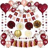 MMTX Mädchen Geburtstag Dekorationen Weinrot Konfetti Luftballons mit Weiß Burgunder Rosegold Latexballons für Mädchen Frau Jahrestag Wiedervereinigung Fallen Partyzubehör