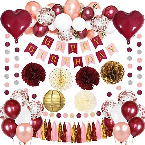 MMTX Kit di Decorazioni per Donna Borgogna Compleanno Palloncini Coriandoli con Oro Rosa Bianca Rossi Palloncini a Cuore per Ragazza Compleanno Decorazione Anniversario Riunione Autunno per Feste