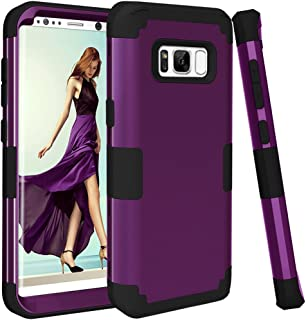 Samsung Galaxy S8 Case, VPR 3 in 1 Hybrid Cover Hard PC Soft Silicone Interior Rubber Scratch Heavy Duty High Impact Shock Absorbing Protective Defender Case for Galaxy S8 2017 (Dark Purple+Black)