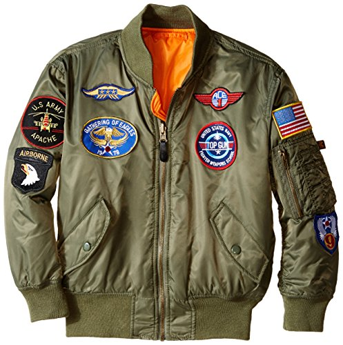 Alpha Industries Boys' MA-1 Flight Jacket with Patches (YL, Sage)