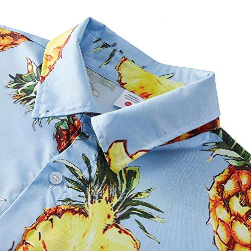Goodstoworld Camicia Hawaiana da Uomo Camicie Estiva Fiori Tropicale 3D Stampa Manica Corta Vogue Hawaiian Shirt Men Ananas Blu Chiaro