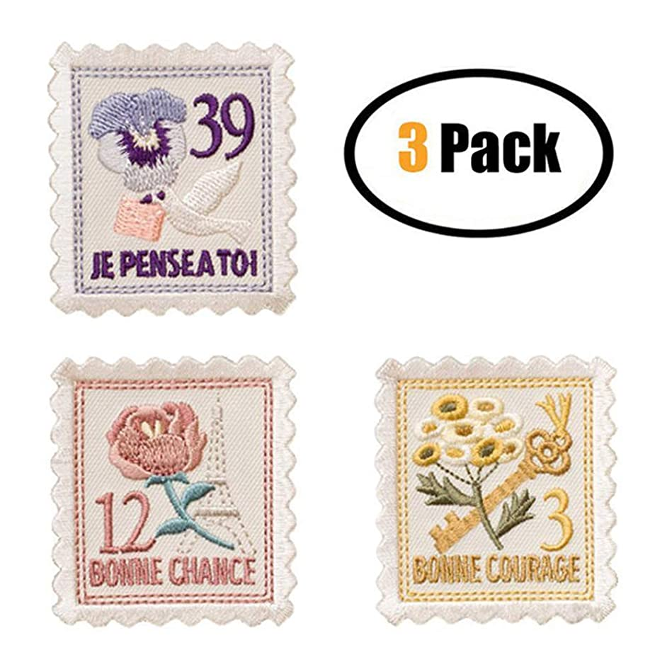 3 Pack Delicate Embroidered Patches, Cute Flower Stamp Embroidery Patches, Iron On Patches, Sew On Applique Patch, Custom Backpack Patches for Boys, Girls, Kids, Super Cute!