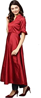 Inddus Red silk blend party wear anarkali suit set With Dupatta