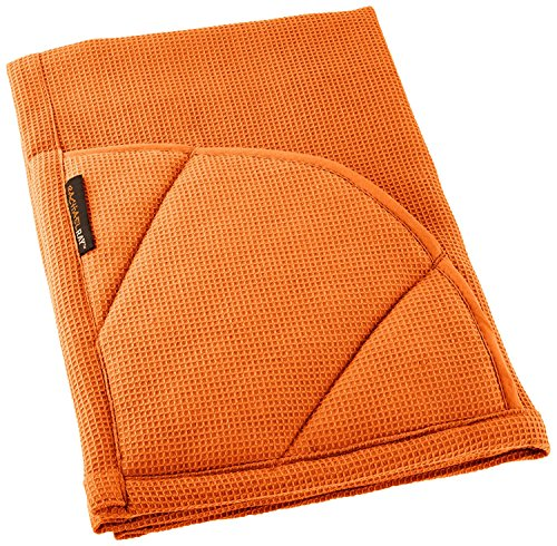 Rachael Ray Moppine Towel - 2-in-1 Kitchen Towel and Pot Holder with 2 Heat Resistant Pockets to Grip Hot Cookware, Bakeware -Absorbent Kitchen Towels Perfect for Drying Dishes and Hands,Burnt Orange