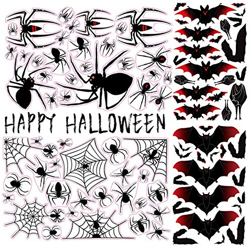 190PCs Spinne Fledermaus Aufkleber Halloween Deko Spinnennetz Fensterbild Fensteraufkleber Horror Party Dekoration