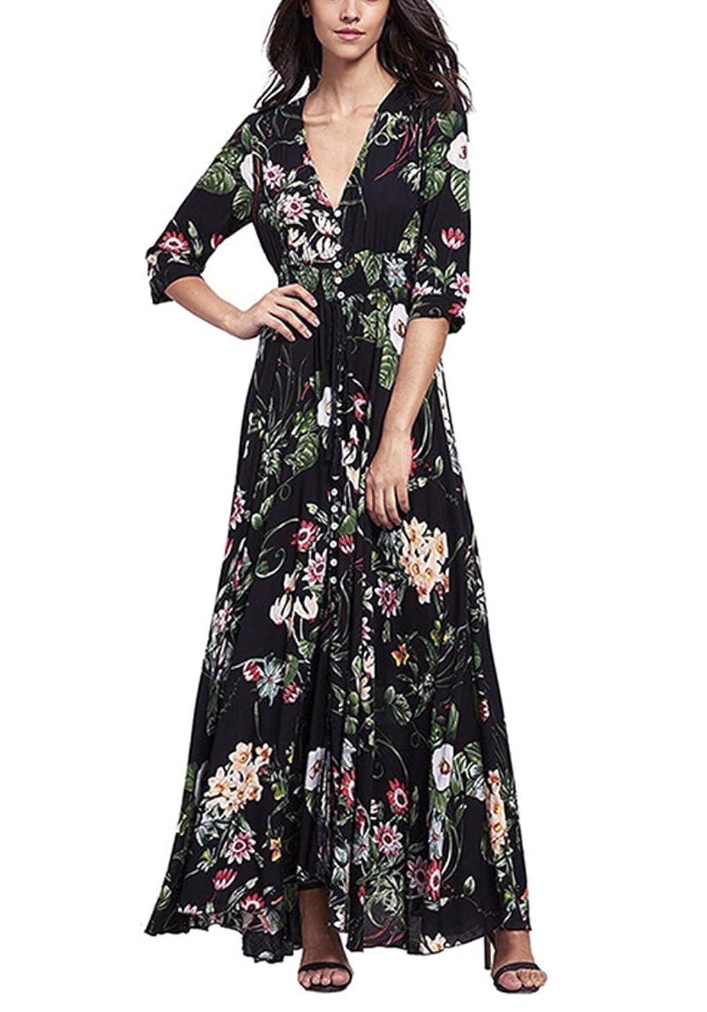 Chérie Fille Women's V-Neck Button up Split Dress One-Half Sleeves Dresses Bohemian Floral Print Flowy Party Maxi Dresses