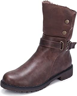 Women's Warm Winter Boots Round Toe Leather Chunky Low Heel Faux Fur Winter Riding Boots Zipper Buckle Strap
