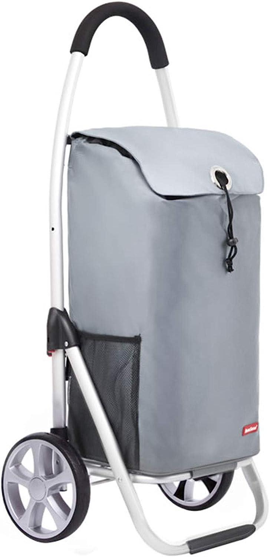 Carro De La Compra De Aluminio Portátil, Carro De Arranque Plegable Grande sobre Ruedas, Cesta para Escaleras, Bolsas De Moda De Trolley Plateado (Color : B)