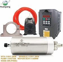 VFD CNC Spindle Motor Kits:110V 1.5KW VFD+110V 1.5KW 3 bearings Water Cooled Spindle Motor+110V 75W Water Pump+80mm Motor Clamp Mount+5m Water Pipe (110V-1.5KW VFD,1.5kw 3 bearings motor)