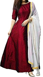 Vibha Enterprise Women's A-Line Knee-Long Plain Gown With Dupatta (Free-Size)