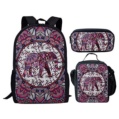 Agroupdream Kids School Backpack Set Lightweight School Bag Set for Girls Boys Daypack Lunch Boxes Pencil Bag Mandala Elephant