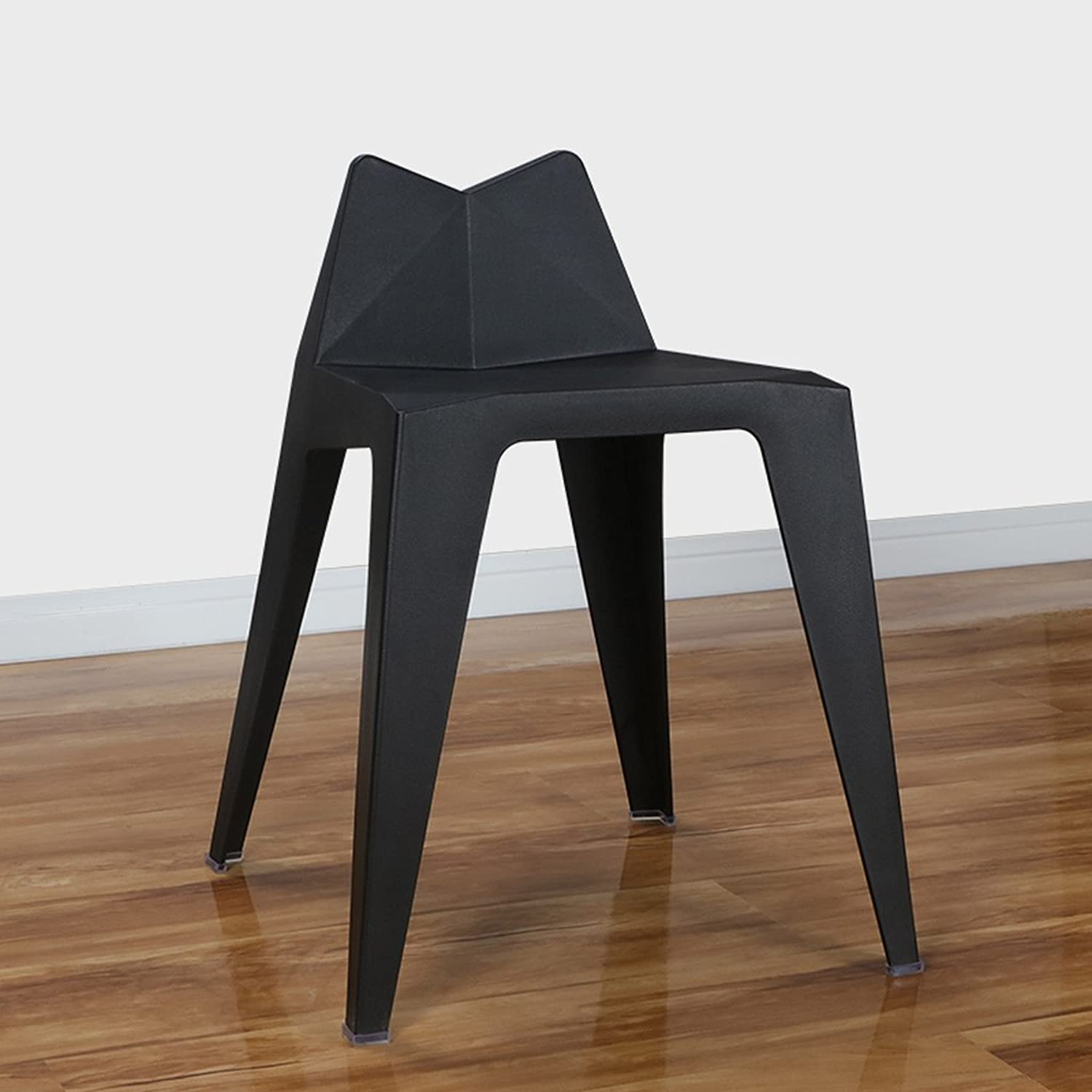 Simple Backrest Stools Restaurants Tea Shops Leisure Chairs Fashionable Personalized Thick Plastic Green bluee Red Black Yellow (color   Black)