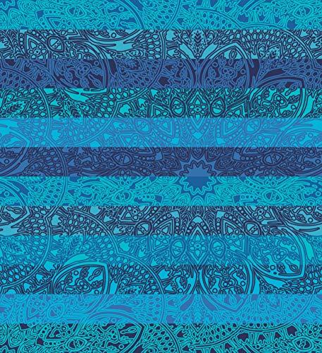 Secaneta Pareo Gigante de Playa para Suelo 100% Algodón de 210x230 cm, Mandala Doble Tamina (Azúl), 210 x 230 cm