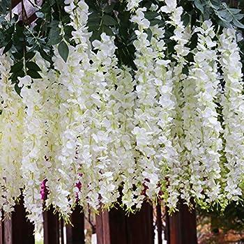 Houda - Wisteria artificial para colgar (flores de seda, para fiestas y decoración, 12 piezas, 1 m): Amazon.es: Hogar