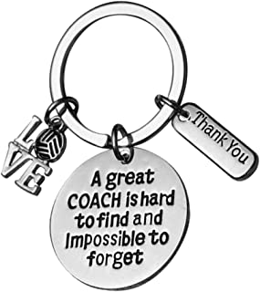 Volleyball Coach Keychain, Coach Gifts, Great Coach is Hard to Find But Impossible to Forget Coach Key Chain