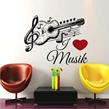 Pegatina De Pared De Guitarra De Música Alemana, Papel Tapiz Autoadhesivo De Arte Extraíble Negro, Vinilo, Nota Musical, C...