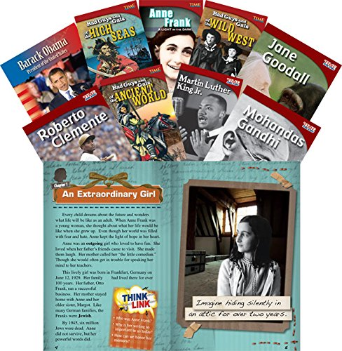 Teacher Created Materials - Classroom Library Collections: Biographies - 9 Book Set - Grades 2-5 - Guided Reading Level M - T
