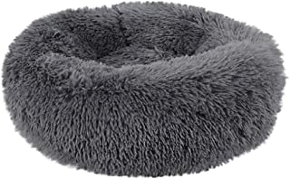 FunDiscount Dog Bed, Faux Fur Fluffy Self-Warming Cat and Dog Cushion Comfortable Soft Plush Donut Cuddler Round Pet Bed for Small Medium Dog Cozy Kitty Teddy Sleeping Kennels (Dark Gray, Small)