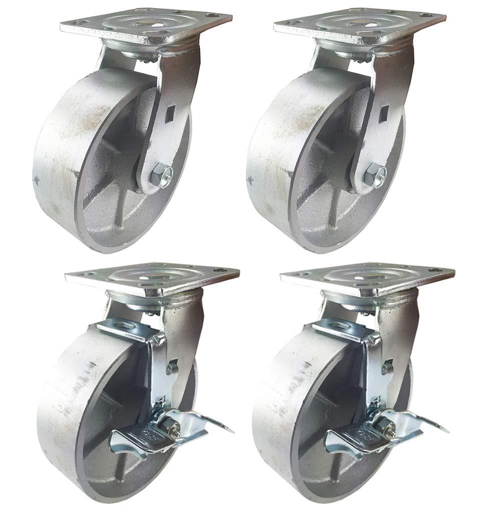 6 : 2R + 2SB 4 Heavy Duty Caster Set 4 5 6 All Steel Wheels Rigid Swivel and Brake