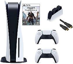 PS5 Bundle: Playstation 5 Disc Console DualSense Wireless Controller Assassin's Creed Valhalla و ایستگاه شارژ TIVDIO برای PS5