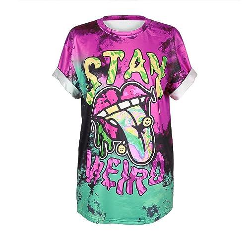 004be662 MHOTCIG Fashion Couple Tops Women Summer Casual T Shirt Punk Sleeve Printed  T-Shirts