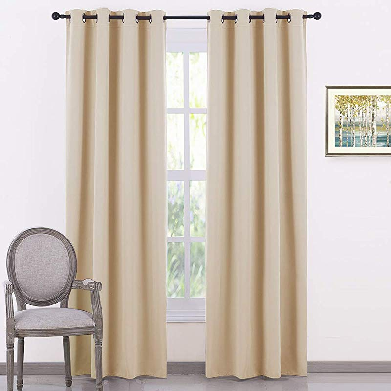 PONY DANCE Beige Window Curtains Thermal Insulated Light Block Home Decor Room Darkening Curtain Panels Noise Reducing For Bedroom 55 By 80 Inches Biscotti Beige Set Of 2