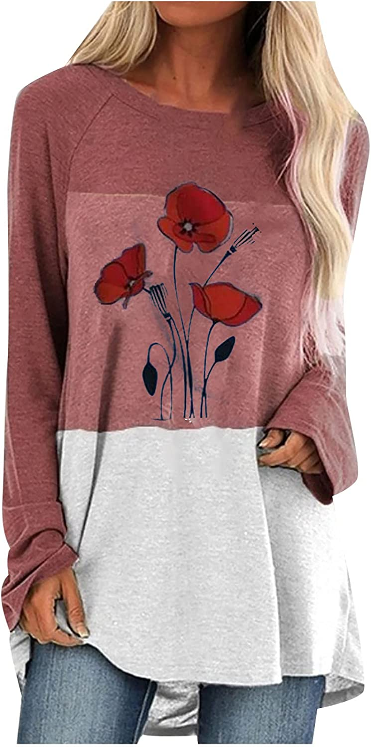 Womens Long Sleeve Tops, Ladies Colorblock Printed Casual Round Neck Long Sleeve Pullover T-Shirt Top