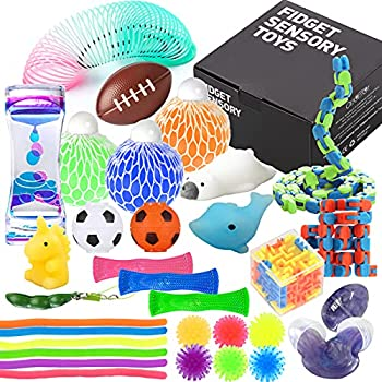 Fidget Toys Set with Stress Balls for Kids Teens and Adults 32 Pack Stretchy Sensory Tool with Liquid Motion Timer for ADHD Autism and Anxiety Fun Fidgeting Game for Classroom and Office