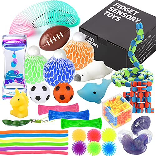 Fidget Toys Set with Stress Balls for Kids, Teens and Adults, 32 Pack Stretchy Sensory Tool with Liquid Motion Timer for ADHD, Autism and Anxiety, Fun Fidgeting Game for Classroom and Office