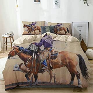 Mokale Duvet Cover Twin,Western Cowboy Riding Towards Sunset in Wild West Rodeo Western Bucking Bronco Horse,100% Washed Microfiber 3pcs Bedding Set with 2 pillow shams,Reversible beige,Zipper Closure
