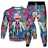XIKONG Tacksuit Rick y Morty Men Sportswear Dos Piezas Sets Sudaderas Pantalones Casual Jogging Outfit Sport Set de Manga Larga Pantalones Set Pink1-L