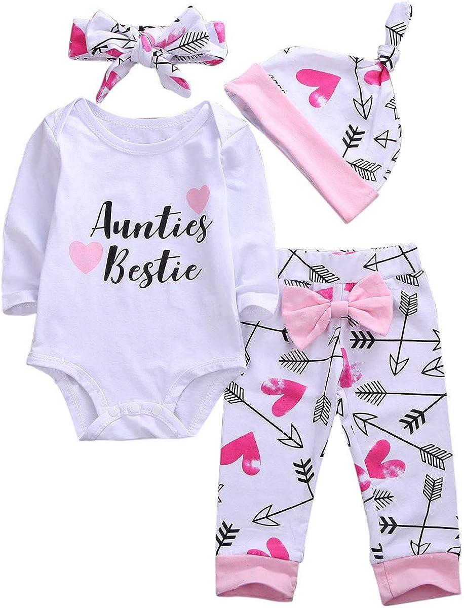 ALUNNI Newborn Infant Baby Girl Clothes Auntie's Bestie Romper Long Sleeve Bodysuit+Flower Print Pants Hat Headband Outfits
