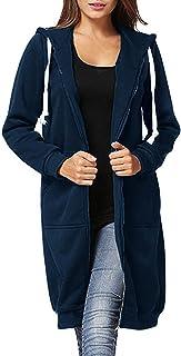 Farktop Women's Casual Zip Up Hoodie Solid Long Jacket Sweatshirt Outerwear with Pocket Plus Size (S-5XL)