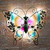 GloBrite Solar Butterfly Wall Art Light - Colorful Metal Butterfly Garden Ornament Decoration with White Glow