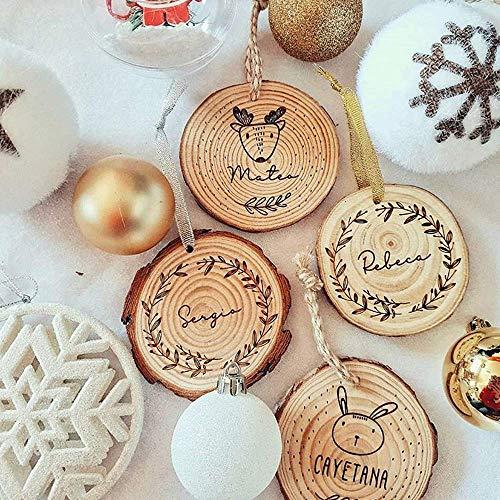 MONAMÍ - Bolas de la Navidad en Madera Personalizadas. Rodaja de Madera grabada de 8-10 cm de diámetro con Cordel Anudado. (8-10 cm, Cordel Plata)