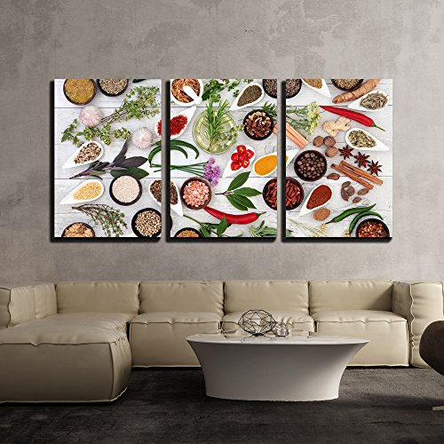 wall26 - 3 Piece Canvas Wall Art - Large Herb Food Seasoning Sampler Over Distressed White Wood Background. - Modern Home Art Stretched and Framed Ready to Hang - 24