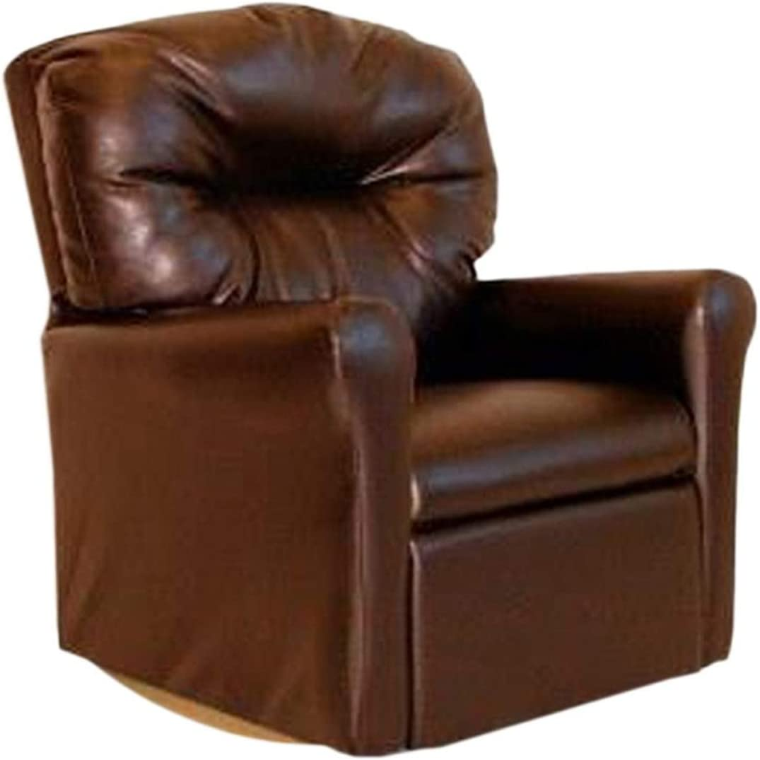 Dozydotes Contemporary Genuine Free Shipping Brown Leather Recliner Rocker Like Tulsa Mall