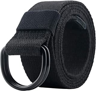 Canvas Belt, Web Belt for Men/Women with Metal Double D Ring Buckle 1 1/2