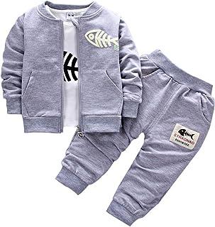 BINIDUCKLING Bebé Abrigo de niños+Pantalones + Camisas Conjuntos de Ropa para niños Pequeños Conjuntos de 3 Piezas Ocasion...