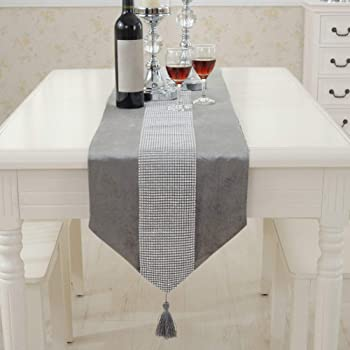 Camino de mesa moderno de Matedepreso - Duradero franela de poliéster con brillantes - Camino de mesa lavable (32 180 cm), color gris, gris, 32 180cm