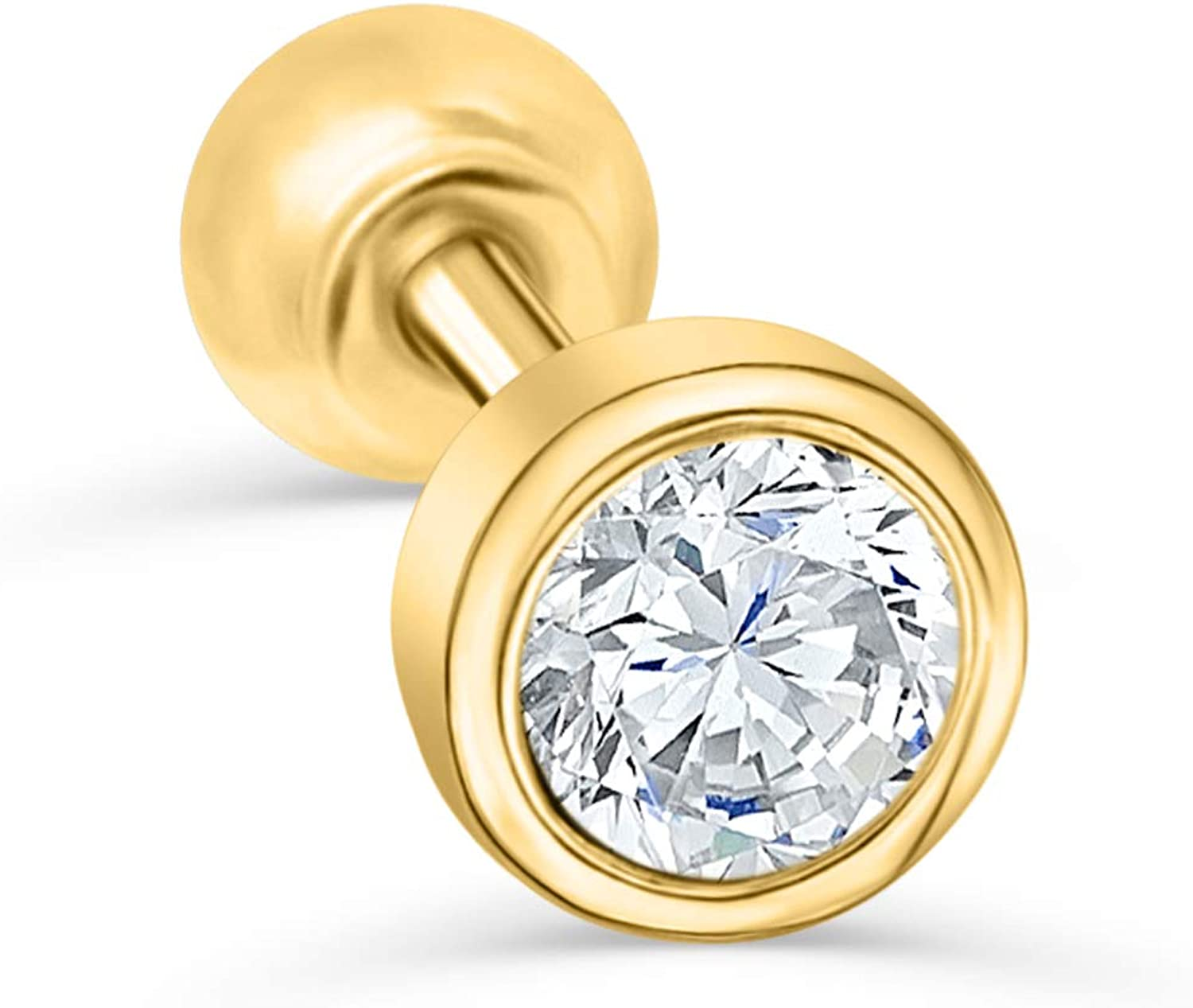 14K 10K Solid Yellow Gold free shipping Jewelry 2 Max 59% OFF Ba Tiny Round Small 4mm 3 Cz