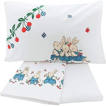 Set di biancheria per lettino, Lenzuolo sopra, lenzuolo sotto e federa, 100% cotone Made in Italy (Disegno 1)