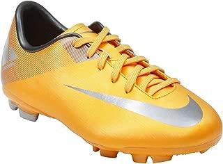 Nike Kid's Soccer Cleats JR MECURIAL Victory II FG (5.5Y) Orange/Silver