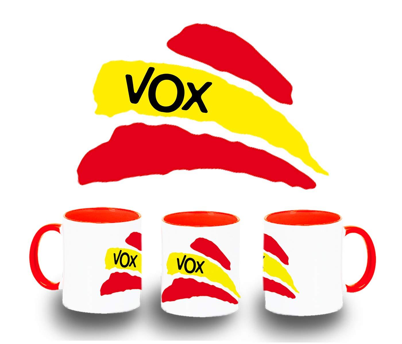 MERCHANDMANIA Taza ROJA Partido VOX Bandera ESPAÑOLA Color mug: Amazon.es: Deportes y aire libre