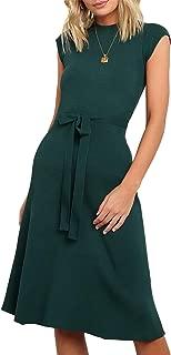 HZSONNE Women's Belted Short Sleeve Rib Knit Midi Dress Knee Length Crew Neck Bow Tie Waist Slim Fit Bodycon Plain Tank Dress