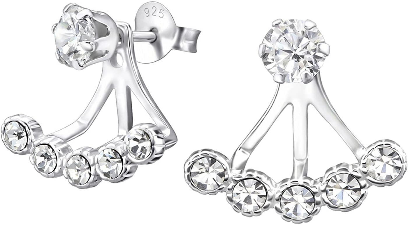 Unique Denver Mall Hanging Round Ear Jackets Earrings Safety and trust 5 with Set Bezel Cubic