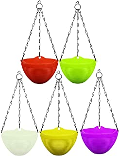 Go Hooked Plastic Hanging Pot, Multicolour, Pot Diameter -18.5 Cm, Pot Height-14 Cm, Pot Thickness -3 mm, Chain Length -33...
