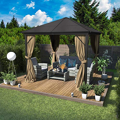 YITAHOME 10X10 ft Outdoor Canopy Gazebo with Mosquito Nettingand Shaded Curtains, Hard-Top Garden Tent Aluminum Frame for Patio, Backyard, Deck, Lawns,Parties (10 X 10 ft)