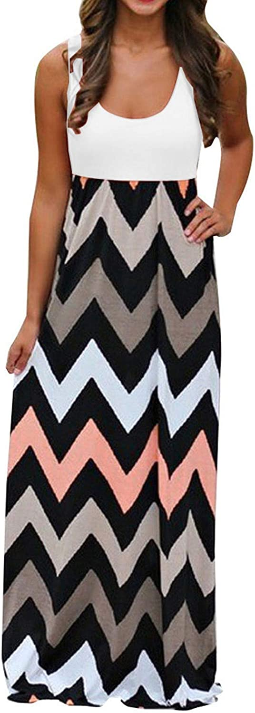 Zainafacai Summer Dresses for Women, Women Casual Maxi Dress Sleeveless Party Dress with Pockets Geometry Print V Neck Dress